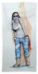 Beach Towel featuring the painting Sketch For Meh by Ray Agius