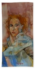 Beach Towel featuring the painting Sketch For Sarah by Ray Agius