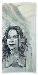 Sketch For Sera.10.01 Beach Towel by Ray Agius