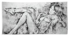 Sketchbook Page 46 Drawing Woman Classical Sitting Pose Beach Sheet