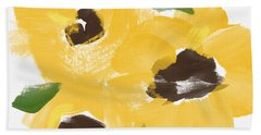 Sketchbook Sunflowers- Art By Linda Woods Beach Towel
