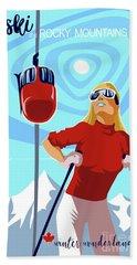 Ski Bunny Retro Ski Poster Beach Towel