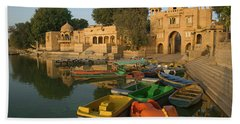 Skn 1391 A Visit To Gadisar Lake Beach Towel by Sunil Kapadia