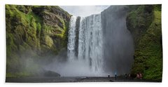 Skogafoss Waterfall, Iceland Beach Towel