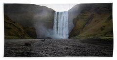 Skogafoss Waterfall In Iceland Beach Sheet