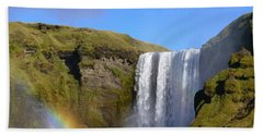 Skogafoss Waterfall With Rainbow 151 Beach Towel
