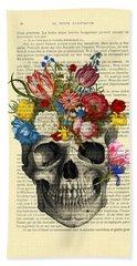 Skull With Flowers Vintage Illustration Beach Towel