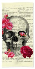 Skull And Pink Roses Beach Towel