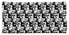 Skull Checker Beach Towel by Roseanne Jones