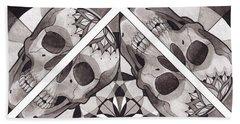 Skull Mandala Series Number Two Beach Towel by Deadcharming Art