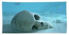 Skull On Sandy Ocean Bottom Beach Towel