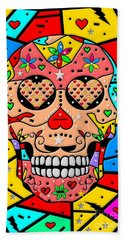 Beach Towel featuring the digital art Skull Popart By Nico Bielow by Nico Bielow
