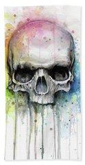 Skull Watercolor Rainbow Beach Towel