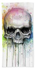 Skull Watercolor Rainbow Beach Towel