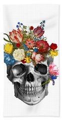 Skull With Flowers Beach Towel