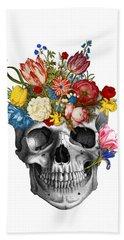 Skull With Flowers Beach Towel