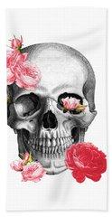 Skull With Pink Roses Framed Art Print Beach Towel