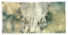 Skully In The Clouds Beach Towel