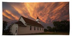 Beach Towel featuring the photograph Sky Of Fire by Aaron J Groen