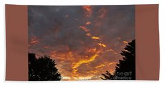 Sky On Fire Beach Towel by Christy Ricafrente