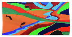 Sky Rivers Beach Towel by Jeanette French