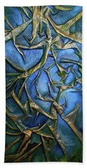 Beach Towel featuring the mixed media Sky Through The Trees by Angela Stout