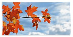 Sky View With Autumn Maple Leaves Beach Sheet