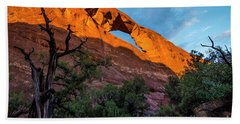 Beach Towel featuring the photograph Skyline Arch At Sunset - Arches National Park - Utah by Gary Whitton
