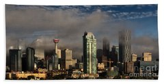 Beach Towel featuring the photograph Skyline Fog by Brad Allen Fine Art