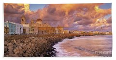 Skyline From Campo Del Sur Cadiz Spain Beach Sheet