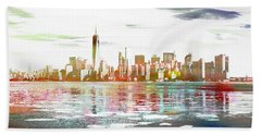 Skyline Of New York City, United States Beach Towel