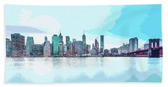 Skyline Of New York City, United States In Blues Beach Towel