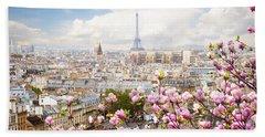 skyline of Paris with eiffel tower Beach Towel by Anastasy Yarmolovich
