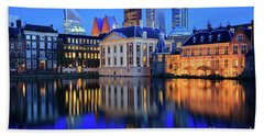 Skyline Of The Hague At Dusk During Blue Hour Beach Sheet by IPics Photography