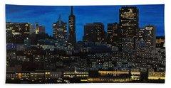 Skyline San Francisco Night Beach Towel by Mike Caitham