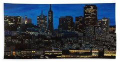Skyline San Francisco Night Beach Sheet
