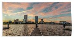 Beach Sheet featuring the photograph Skyline Sunset by Randy Scherkenbach