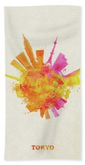 Skyround Art Of Tokyo, Japan  Beach Towel