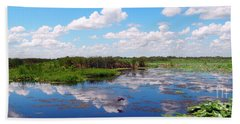 Skyscape Reflections Blue Cypress Marsh Near Vero Beach Florida C5 Beach Towel