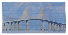 Skyway Bridge Beach Sheet by Rosalie Scanlon