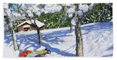 Sledging In The Orchard, Morzine Beach Towel