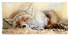 Sleeping Beauty -red Fox In Rest Beach Towel by Roeselien Raimond