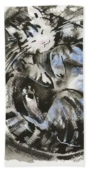 Beach Towel featuring the painting Sleeping Tabby Cat by Zaira Dzhaubaeva