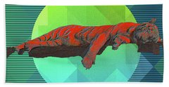 Beach Towel featuring the digital art Sleeping Tiger by Mimulux patricia No