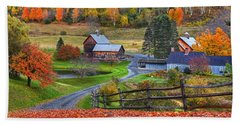 Sleepy Hollows Farm Woodstock Vermont Vt Autumn Bright Colors Beach Sheet