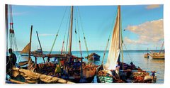 Sleepy Sail Boats Zanzibar Beach Sheet