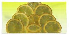 Slices Lemon Citrus Fruit Beach Towel by David French