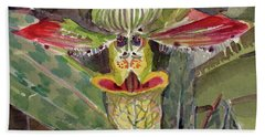 Beach Towel featuring the painting Slipper Foot Aladdin by Mindy Newman