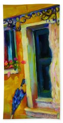 Beach Towel featuring the painting Sliver Of Sunshine by Chris Brandley