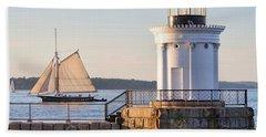 Sloop And Lighthouse, South Portland, Maine  -56170 Beach Towel